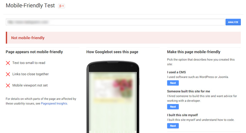 Google Not a Mobile Friendly Site