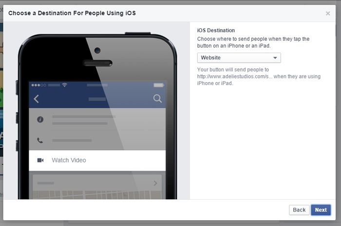 Facebook Call to Action Step 3: Choose an iOS Destination