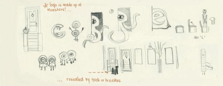 Google Doodle halloween sketches