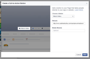 Facebook Call to Action: Select Watch Video and add URL
