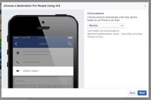 Facebook Call to Action Step 3: Choose an iOS Destination