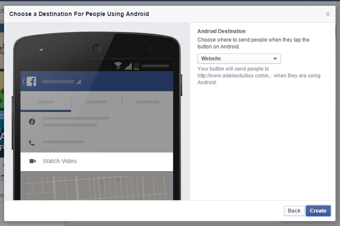 Facebook Call to Action Step 4: Choose an Android Destination