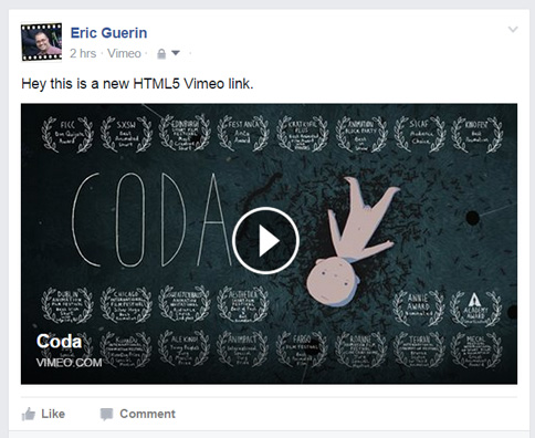 Vimeo HTML5 Share to Facebook