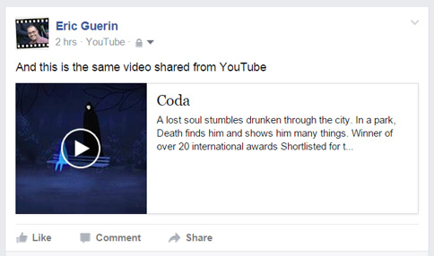 YouTube share to Facebook