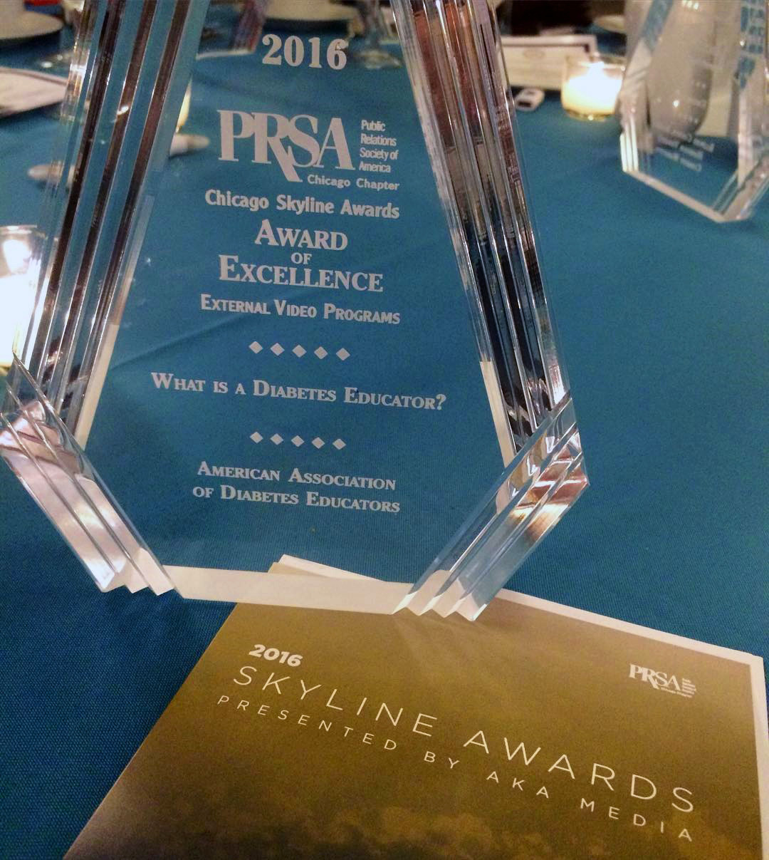 "The ""Award of Excellence"" won by the video from the Public Relations Society of America"